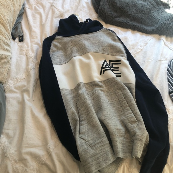 American Eagle Unisex Hoodie Blue and Gray